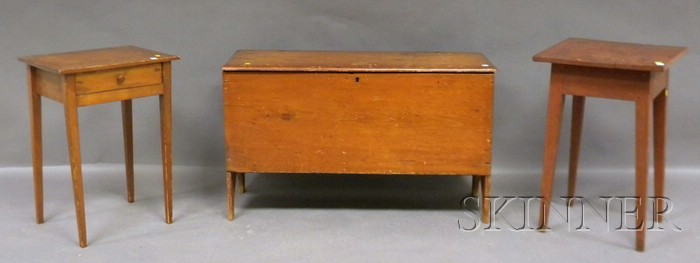 Two Pine Stands with Tapering Legs and a Pine Six-board Blanket Box.     Estimate $100-150