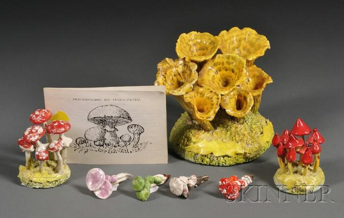 Three Maria Maravigna (1899-2006) Mushroom Groups and Four Mushroom Brooches