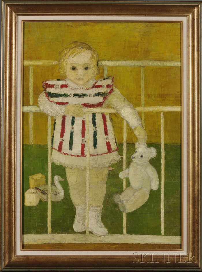 French School, 20th Century      Portrait of a Young Girl Standing in Her Crib.