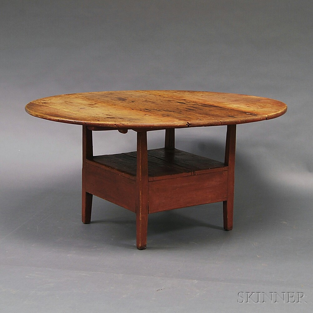 Red-painted Pine Hutch Table