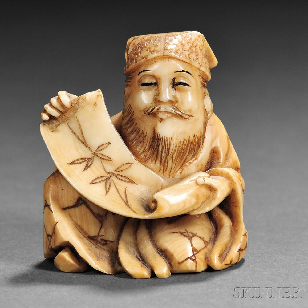 Ivory Netsuke of a Scholar