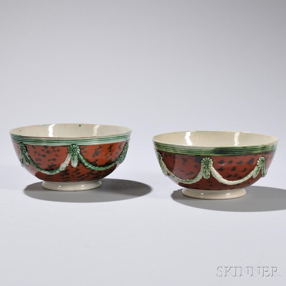 Two Mocha-decorated Creamware Bowls