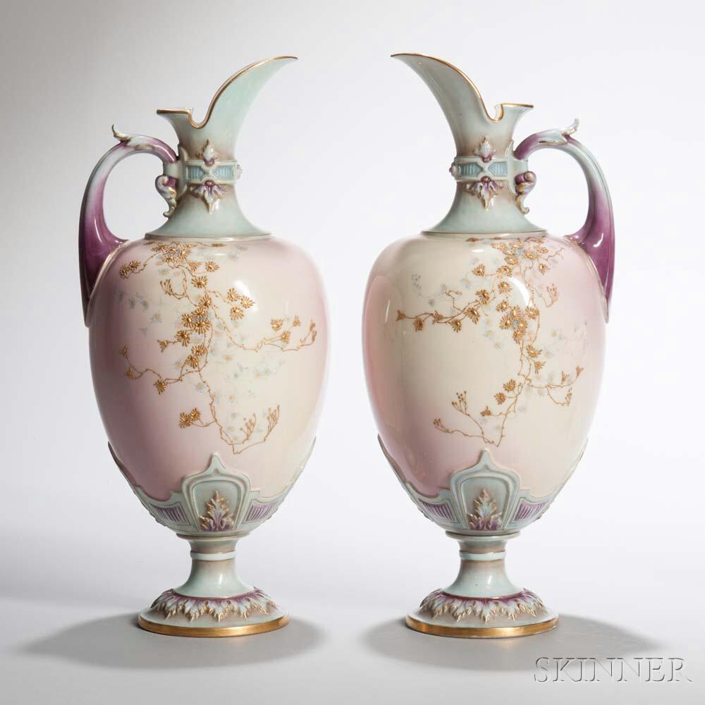 "Pair of Worcester Porcelain ""Prismatic Enamels"" Ewers"