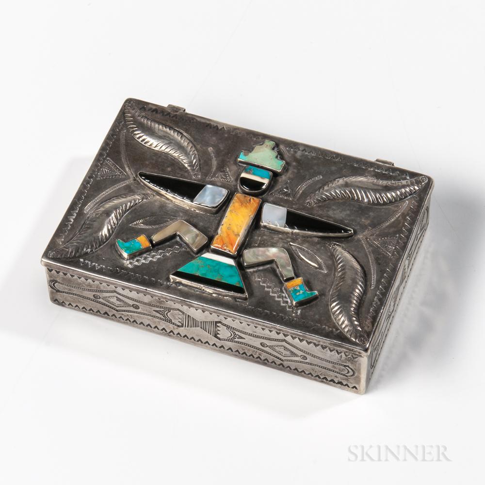 "Zuni Silver Inlay ""Knifewing"" Man Box"