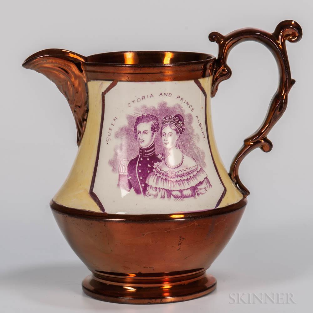Copper Lustre Queen Victoria & Prince Albert Jug