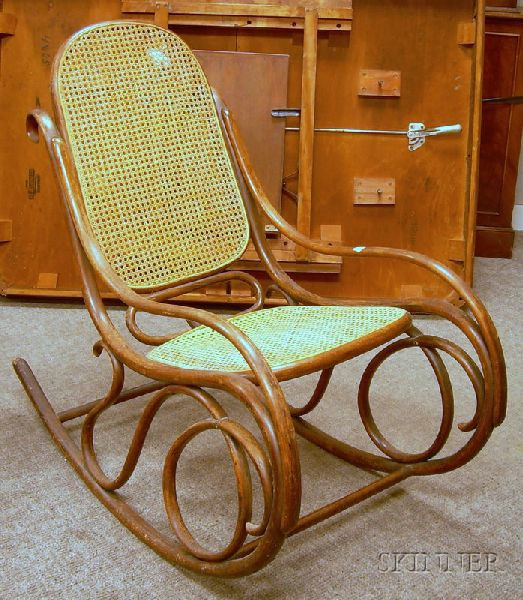 Caned Bentwood Rocking Armchair