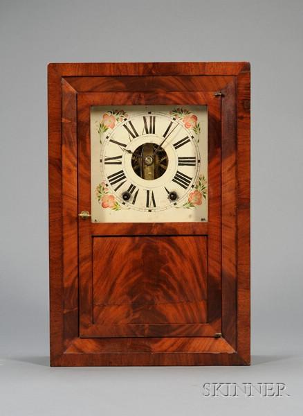 Mahogany Beveled Front Shelf Clock by E.C. Brewster