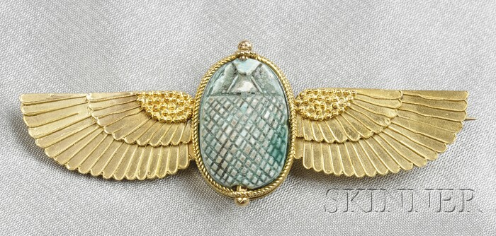 Egyptian Revival Gold and Faience Scarab Brooch