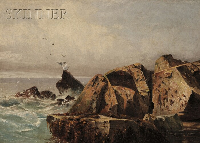 Andrew W. Warren (American, d. 1873)      Rocks and Gulls, Possibly Mt. Desert