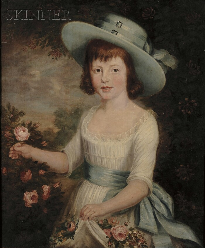 British School 18th/19th Century      Girl in Blue and White in a Rose Garden.