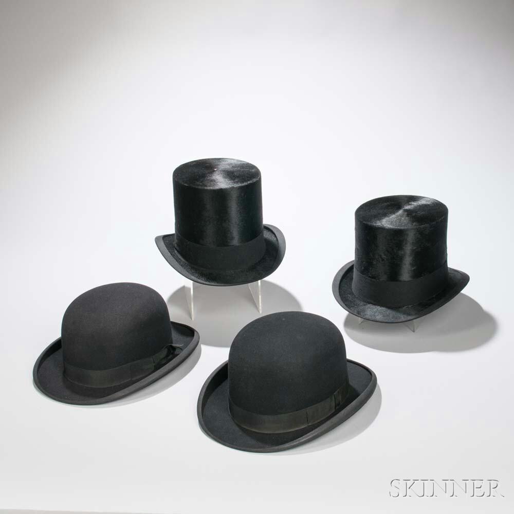 Four Men's Black Dress Hats