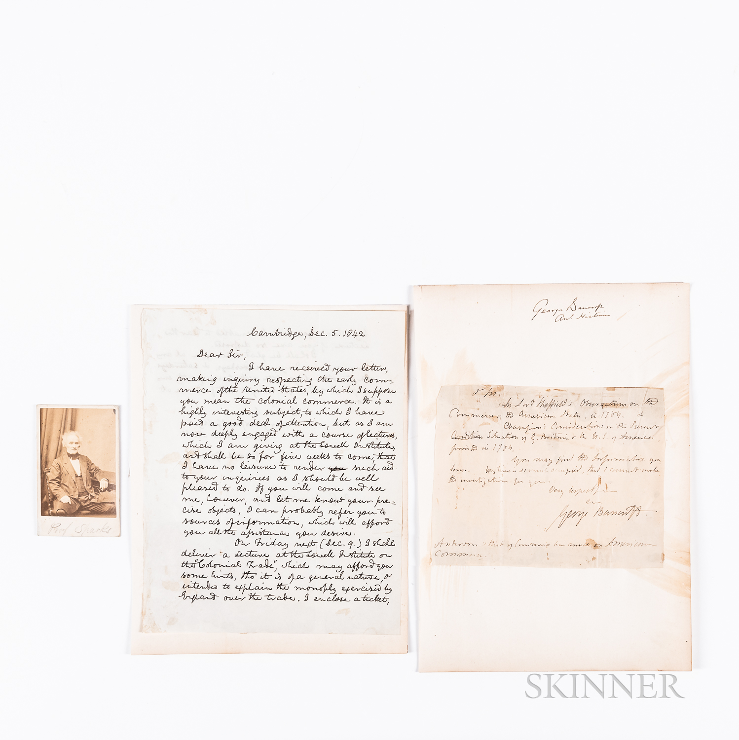 Sparks, Jared (1789-1866) and George Bancroft (1800-1891), Two Letters.