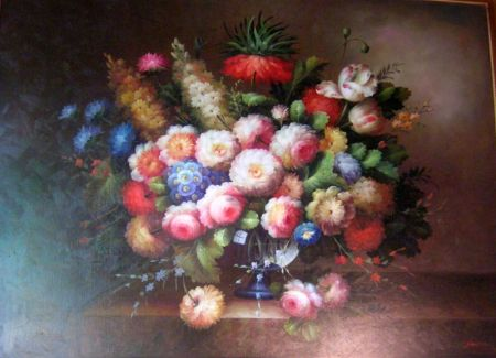 Large Framed Dutch-style Oil on Canvas Floral Still Life