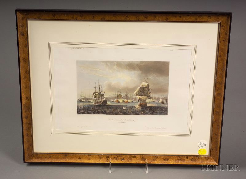 Two Framed French Engravings of Naval Battles