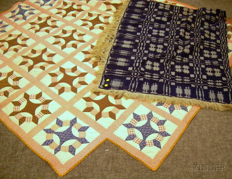 Hand-stitched Pieced Cotton Star Pattern Quilt and a Blue and White Wool and Linen Pine Tree and Snowflake Patt...