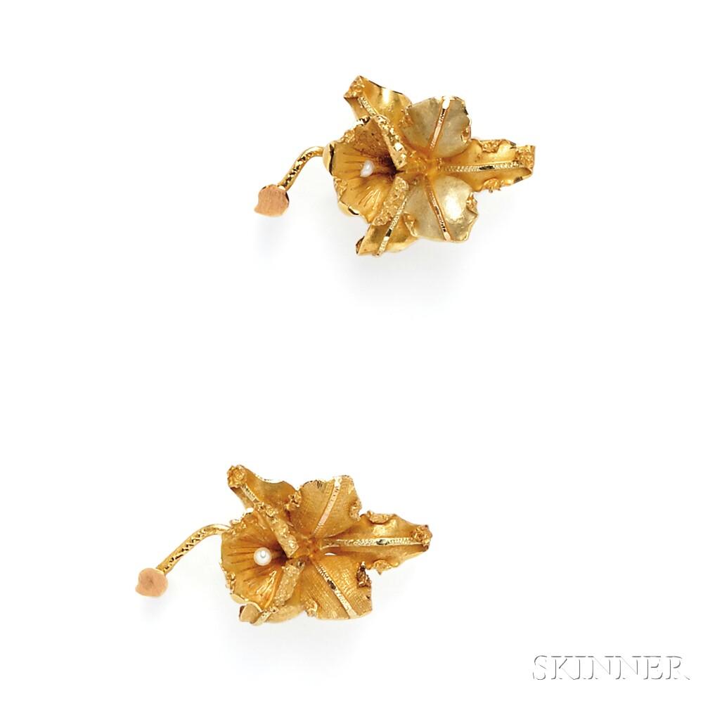 Three Flower Brooches