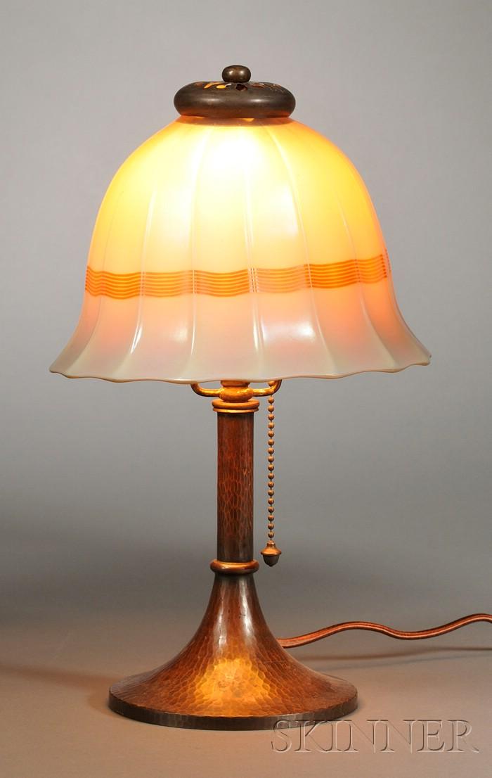 Steuben Shade on Roycroft Boudoir Lamp Base
