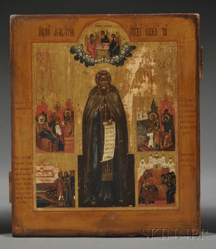 Russian Icon Depicting Saint Sergius