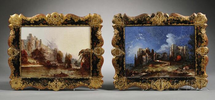 Two Reverse Decorated Castle Views in Papier-mache Frames