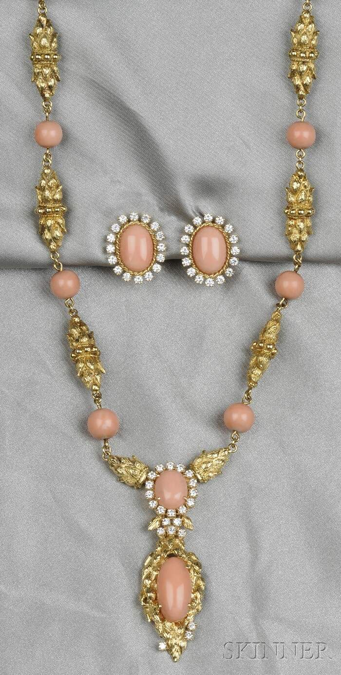 18kt Gold, Coral, and Diamond Suite
