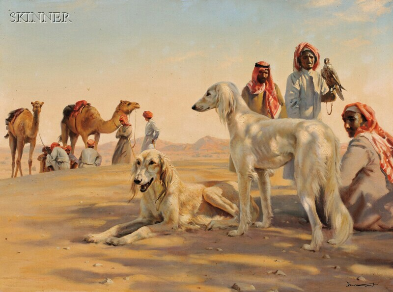 Donald Grant (British, 1930-2001)      View of a Bedouin Tribe and Two Saluki