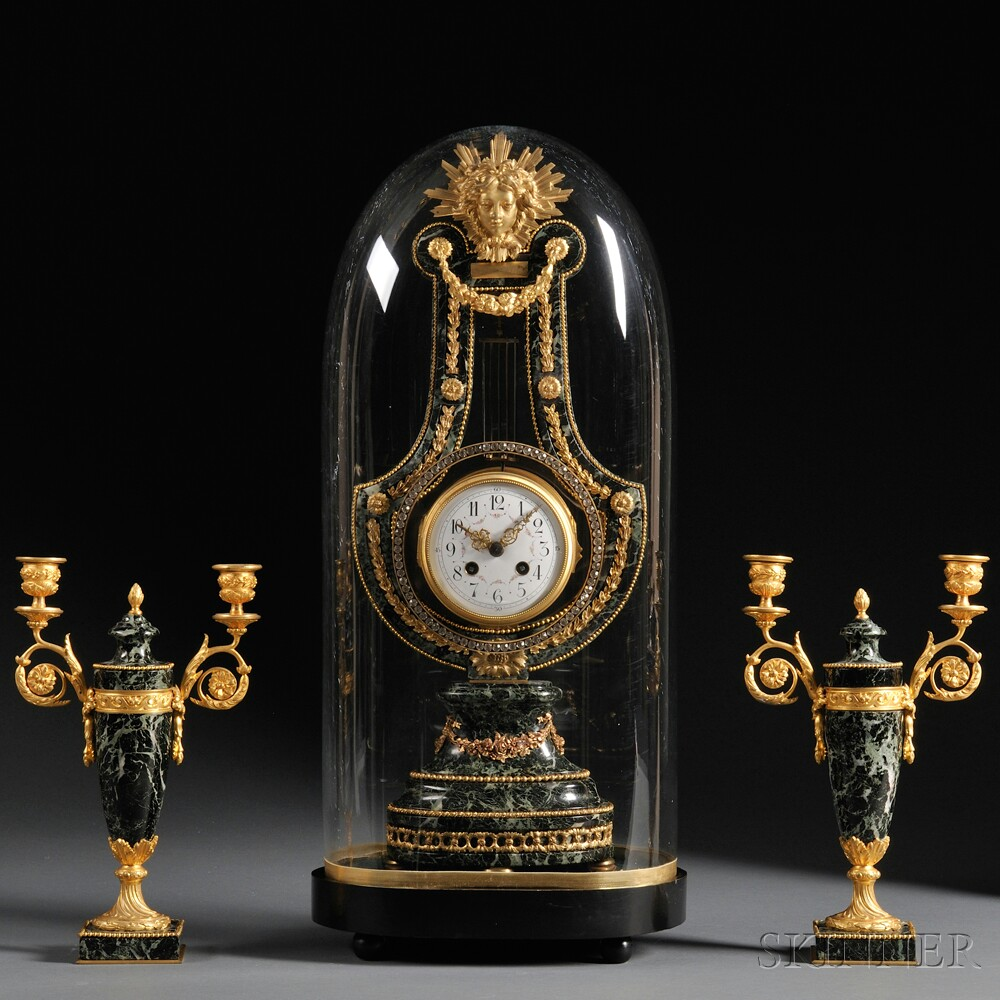 Classical French Lyre Clock And Garniture Sale Number