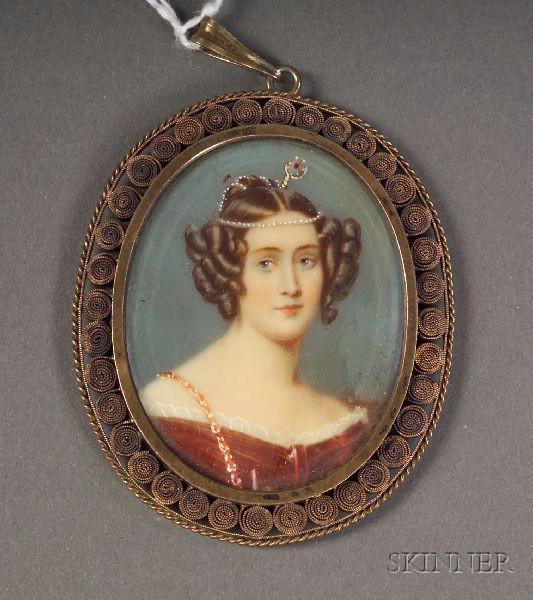 German .800 Silver Framed Portrait Miniature on Ivory after Heinrich Fuger