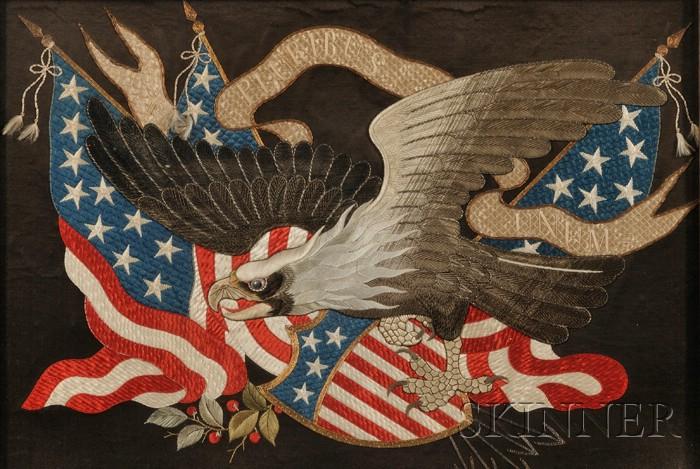 Chinese Export Patriotic American Eagle Needlework