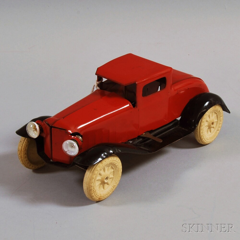 Vintage Wyandotte Red and Black-painted Pressed Steel Coupe