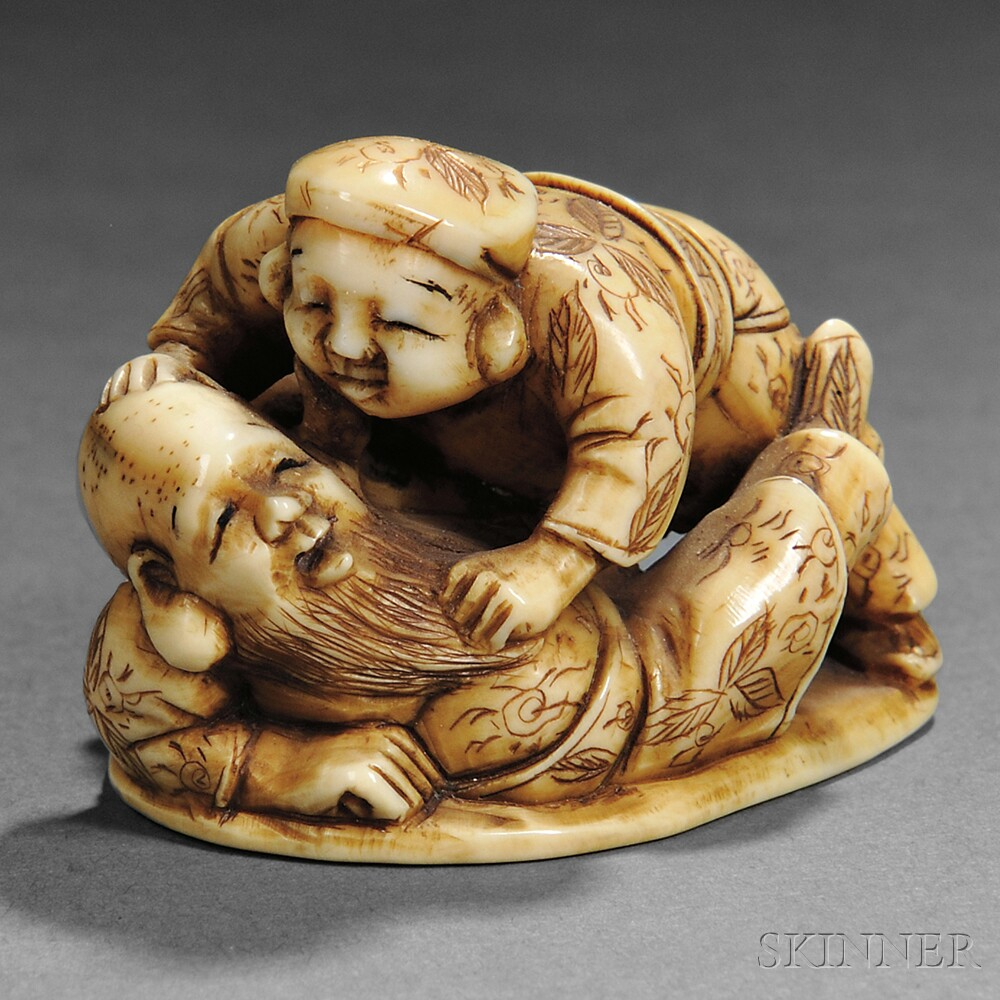 Ivory Netsuke of Two Immortals
