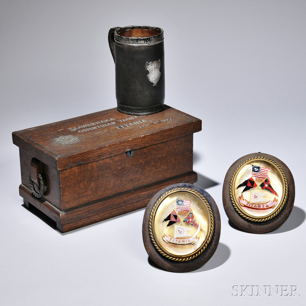 Four Yachting Items, late 19th/early 20th century, including an oak-cased tea caddy carved Seawanhanka Corinthian [Oyster Bay, Long Is