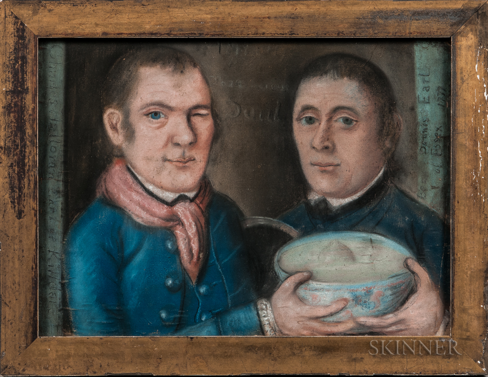 English School, c. 1777      Portrait of Two Men Holding a Punch Bowl
