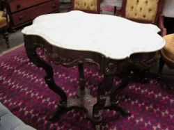 Victorian White Marble Turtle-top Carved Walnut Occasional Table.