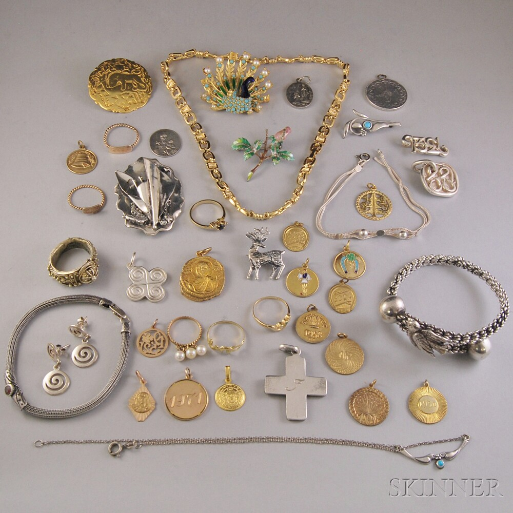 Small Group of Assorted Mostly Silver and Costume Jewelry