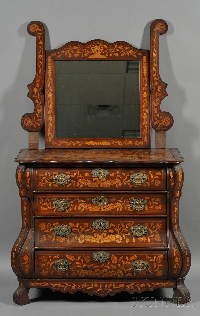 Dutch Baroque-style Fruitwood Marquetry-inlaid Walnut Dressing Chest and Mirror