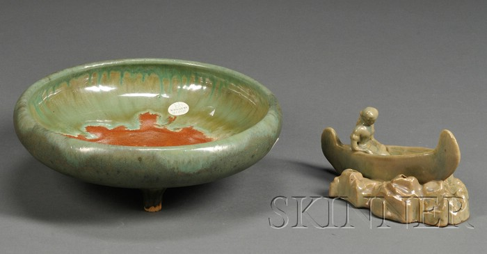 Arts and Crafts Fulper Pottery Bowl and Flower Frog