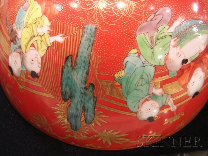 Large Polychrome Enameled Bowl