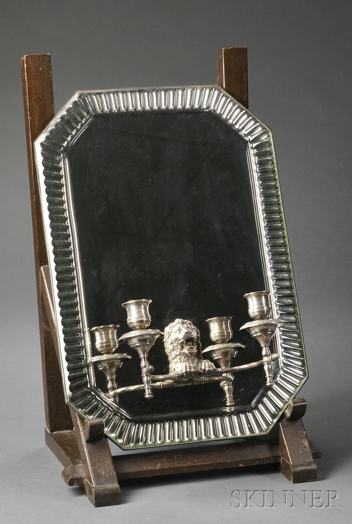 Silver-plate Mirror-backed Two-light Wall Sconce