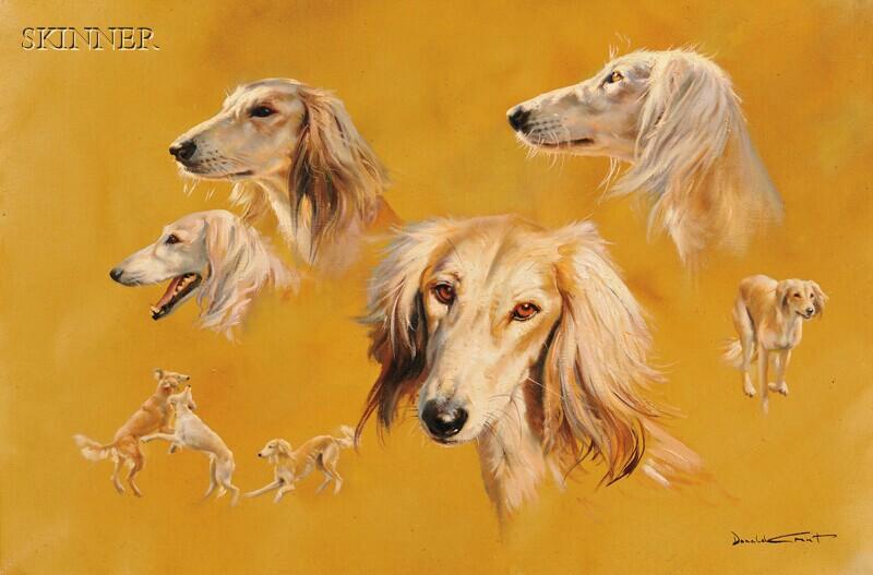 Donald Grant (British, 1930-2001)      Portrait Studies of a Dog