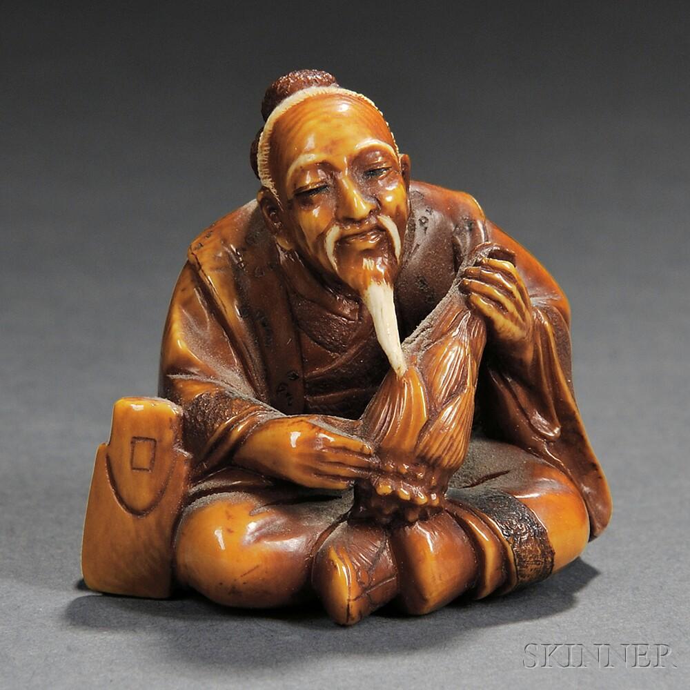 Ivory Netsuke of a Bamboo Cutter