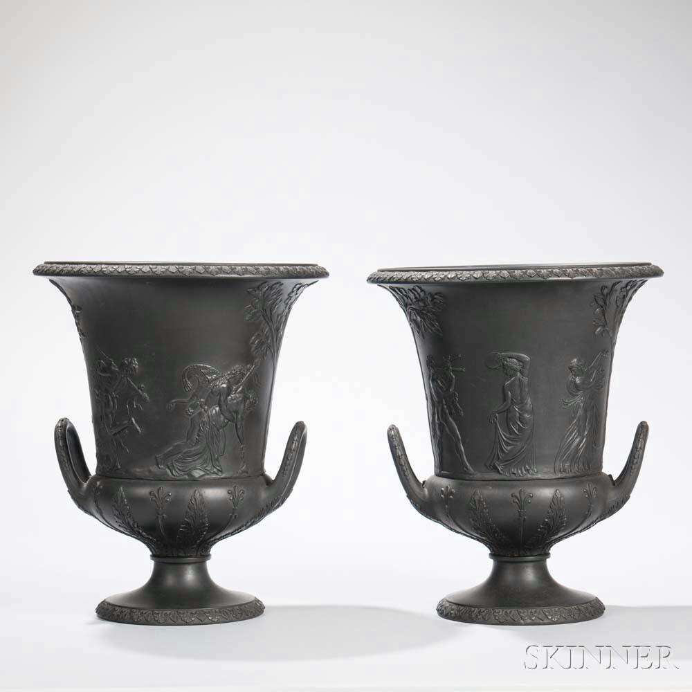 Pair of Wedgwood Black Basalt Urns