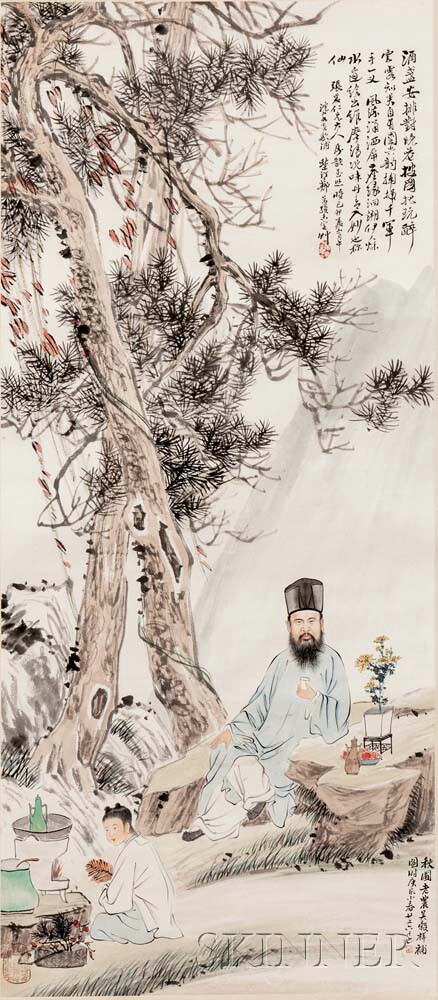 Hanging Scroll Depicting a Bearded Scholar Hermit