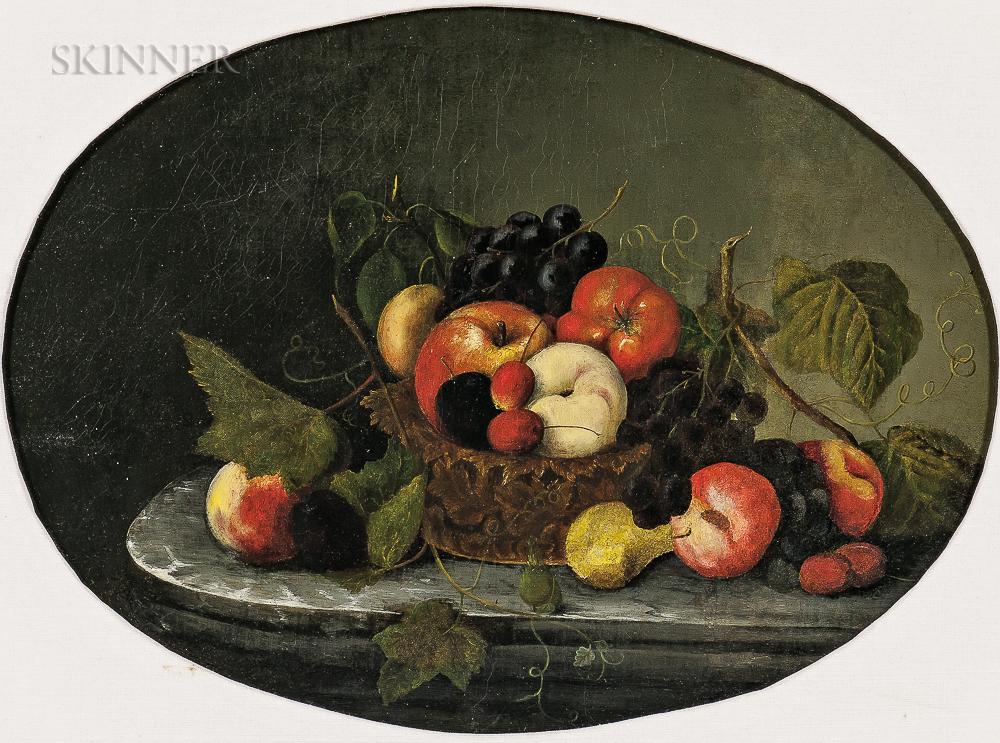 School of Severin Roesen (German/American, 1815-1872)      Fruit Still Life on a Marble Tabletop