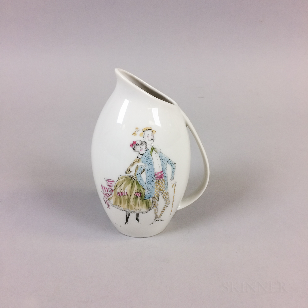 Mia Lederer Decorated Bavarian Porcelain Vase