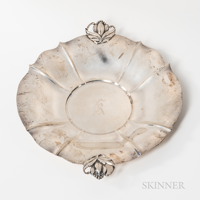 International Sterling Silver Jensen-style Handled Dish