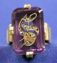 Antique 18kt Gold, Amethyst and Diamond Intaglio Ring
