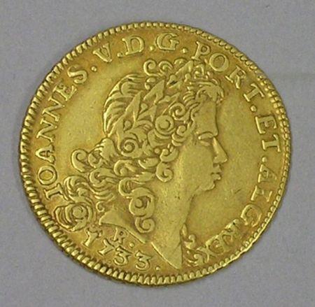 Portuguese Ioannes V Gold Peca 1733, Rio de Janeiro