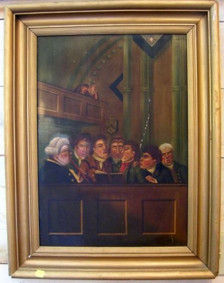 Framed American School Oil on Panel Portrait of Choir Singers