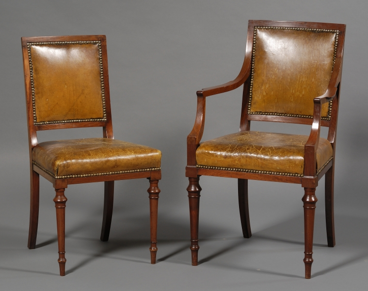 Set of  Eleven William IV Mahogany and Leather-upholstered Dining Chairs