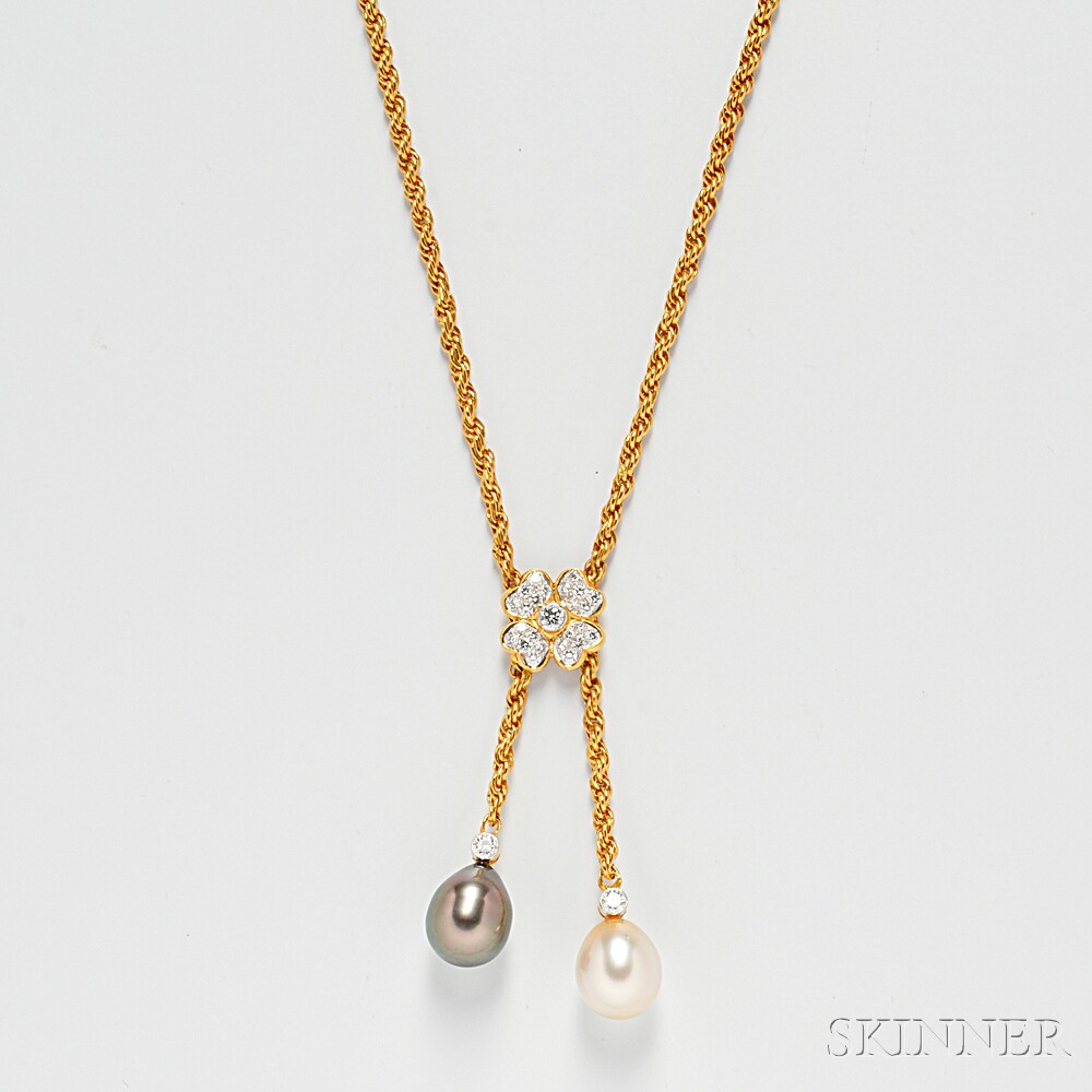 18kt Gold, South Sea, and Tahitian Pearl Lariat